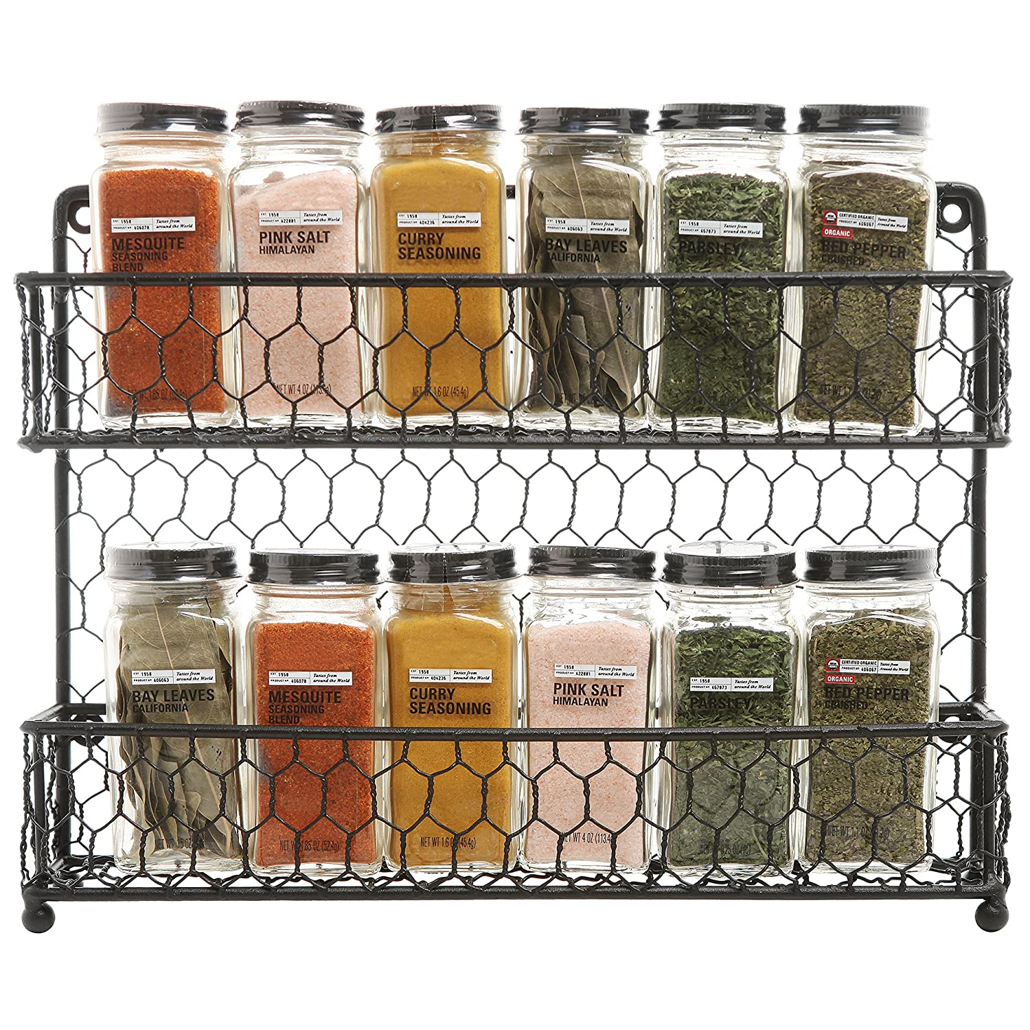 Amazon.com: Country Style Black Dual Tier Wire Kitchen Counter Top Or Wall  Mount Spice Rack Jars Storage Organizer: Kitchen U0026 Dining
