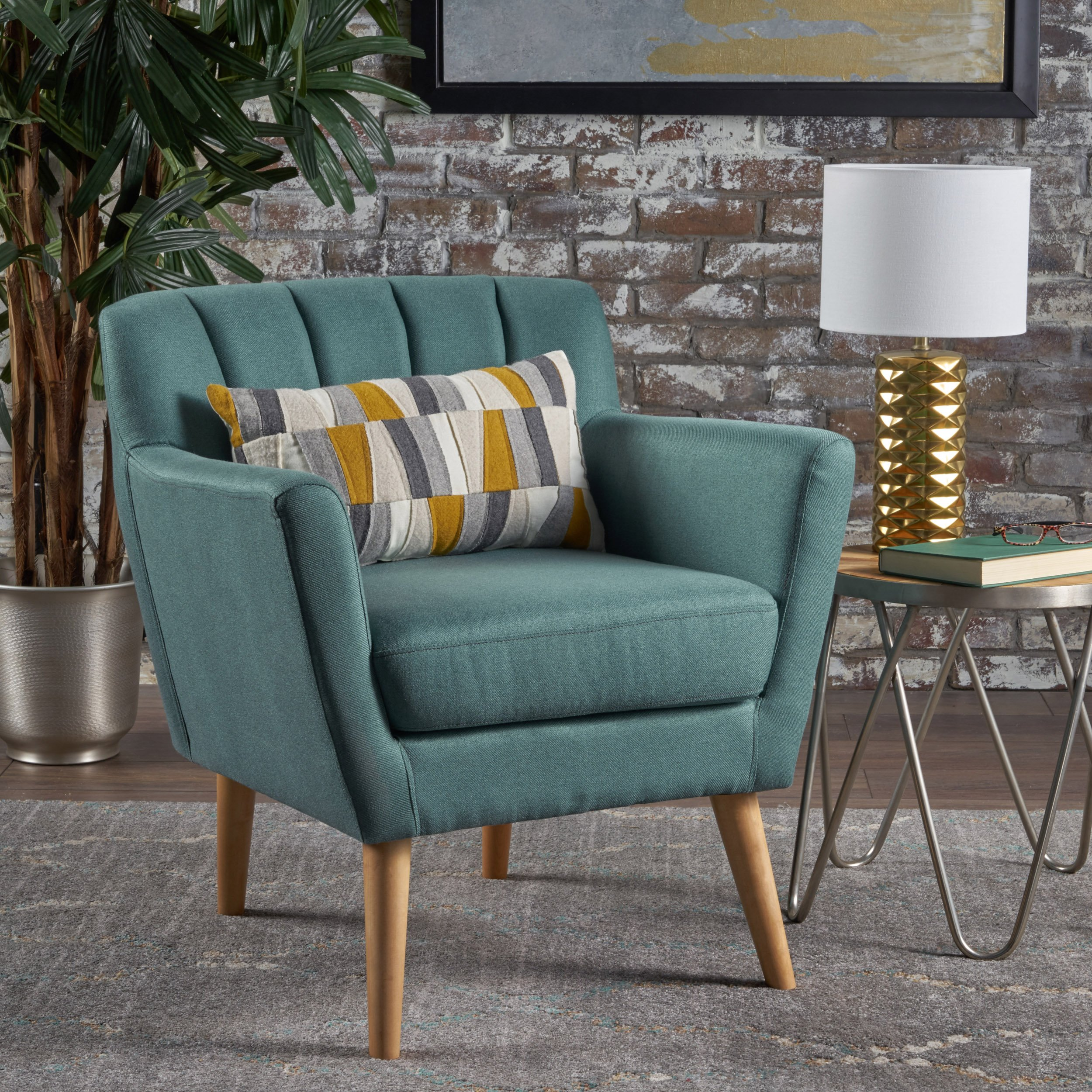 Christopher Knight Home Merel Mid Century Modern Fabric Club Chair, Dark Teal/Natural by Christopher Knight Home