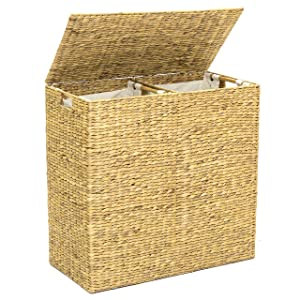 Best Choice Products Water Hyacinth Double Laundry Hamper Basket w/ 2 Liner Basket Bags Brushed - Natural
