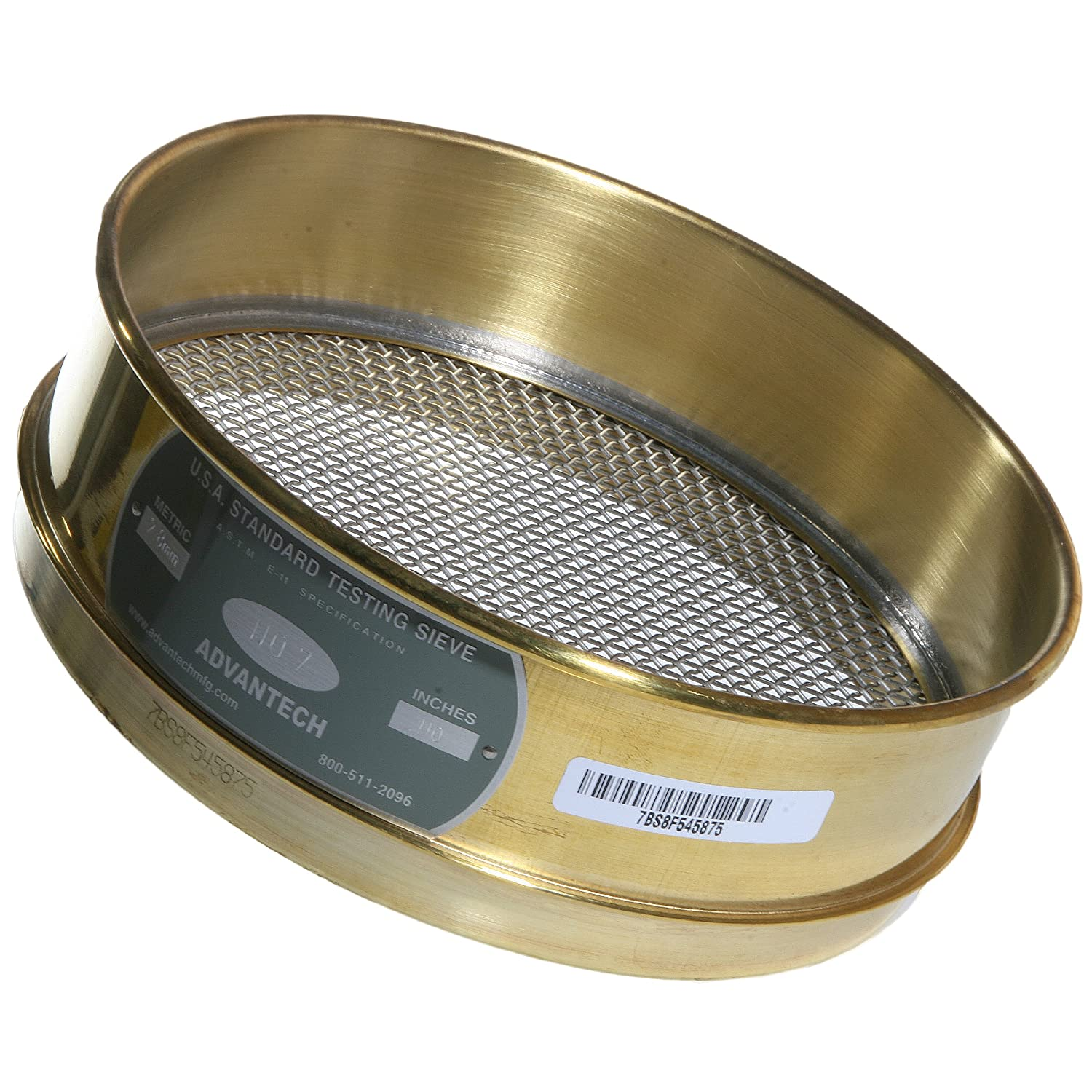 Advantech Brass Test Sieves, 8' Diameter, #7 Mesh, Full Height 8 Diameter ADV-7BS8F