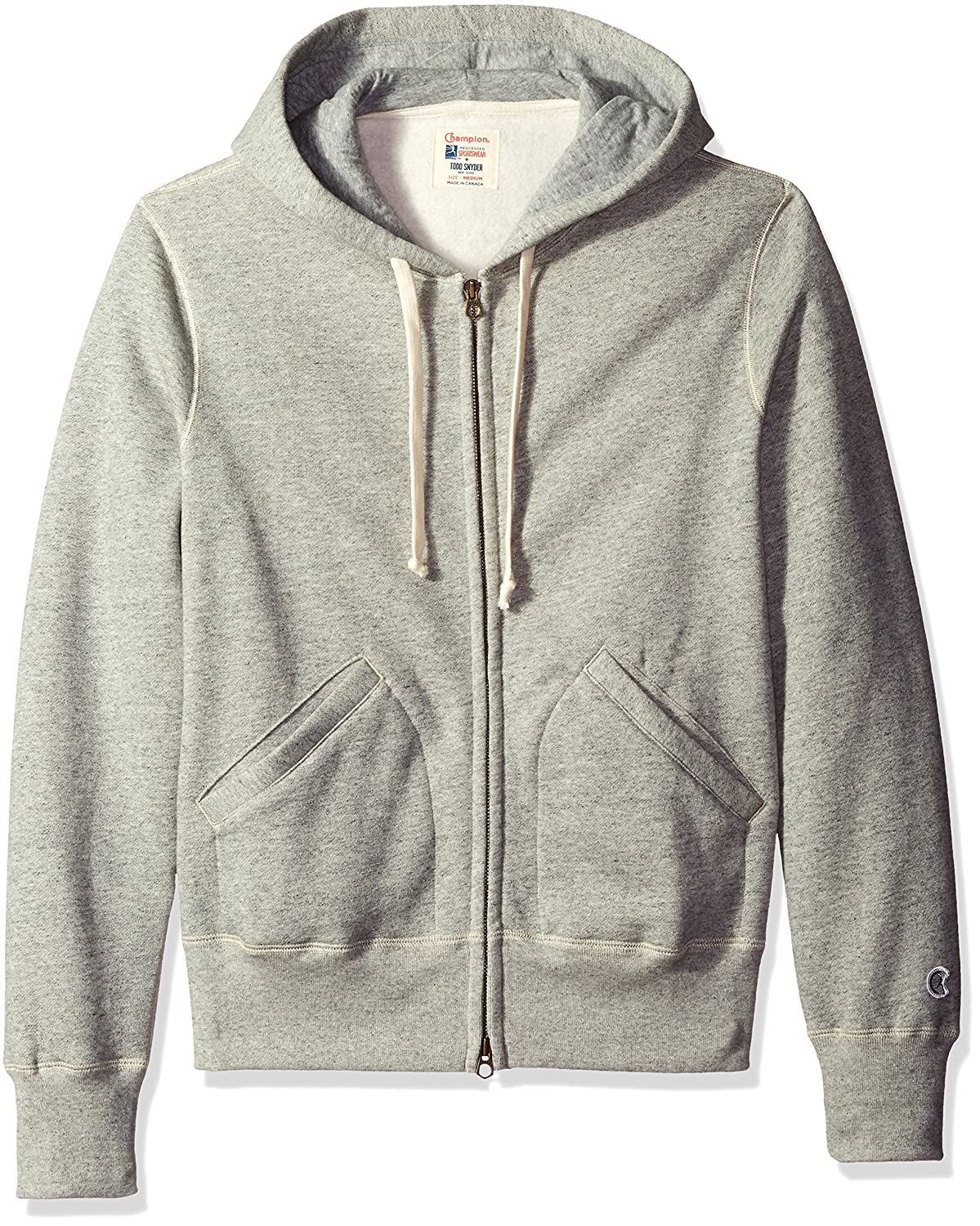 Todd Snyder + Champion Men's Full Zip Hoodie Light Grey Mix Medium KN05107000