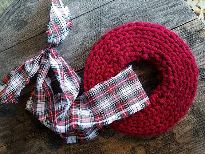 Amazon Knitted Wreath Red Knit Wreath With Rustic Tartan Red