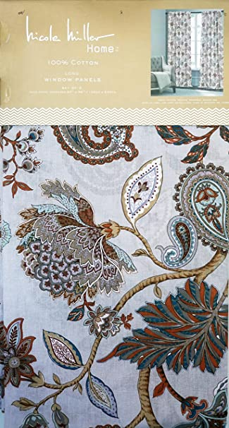 Nicole Miller Pair Of Window Panels Curtains Drapery Set Of 2 Jacobean  Floral Paisley Pattern In