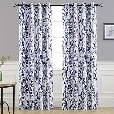 DriftAway Leah Abstract Floral Blossom Ink Painting Room Darkening/Thermal Insulated Grommet Unlined Window Curtains, Set of Two Panels, Each Size 52 x84  (Navy/Silver/Gray)