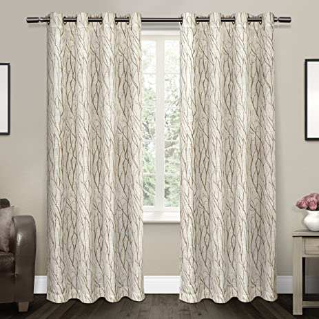 exclusive home curtains oakdale sheer grommet top window curtain panel pair taupe 54x84