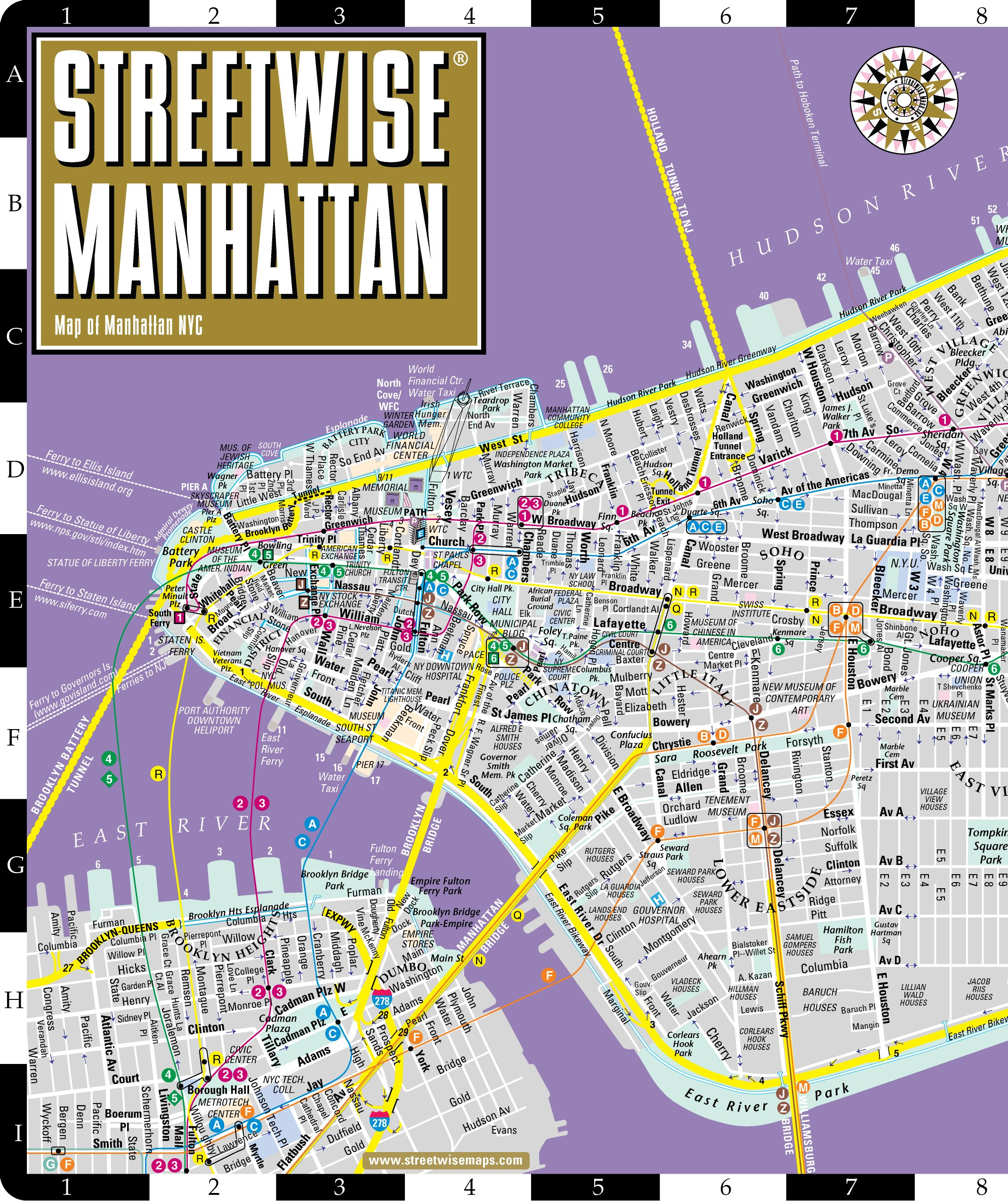 Ny Street And Subway Map.Streetwise Manhattan Map Laminated City Street Map Of Manhattan