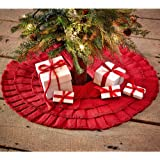 Red Burlap Ruffled Mini Xmas Tree Skirt 21""