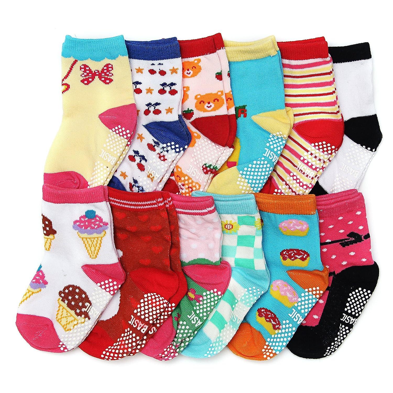 ShoppeWatch Baby Girl Socks with Grips 12 Pairs for Toddler Kids Infants Babies Anti Slip Non Skid Bottoms 2T and 3T Walkers BBSK42 BBSK42G