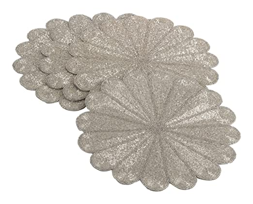 Silver Beaded Flower Design Placemat Set - These hand beaded flower design placemats will look amazing on a Christmas tablescape | http://christmastablescapedecor.com/elegant-silver-table-setting/
