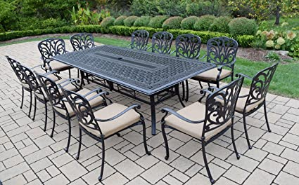 Oakland Living 13 Piece Hampton Aluminum Set With Dining Table, Antique  Black