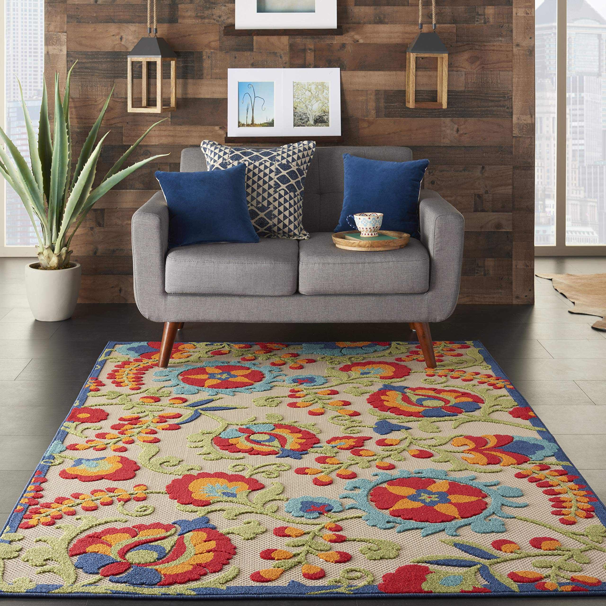 Nourison Aloha  Multicolor Indoor/Outdoor Area Rug  5 feet 3 Inches by 7 Feet 5 Inches, 5'3''X7'5''
