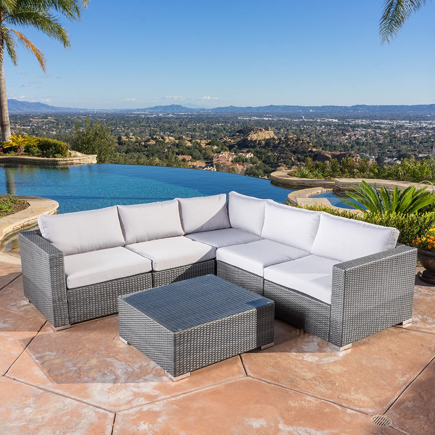 Amazon Francisco Outdoor 6 piece Grey Wicker Seating