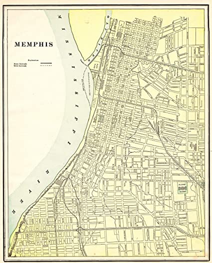 Amazon.com: Original Map of Memphis Tennessee 1901 Antique Memphis ...