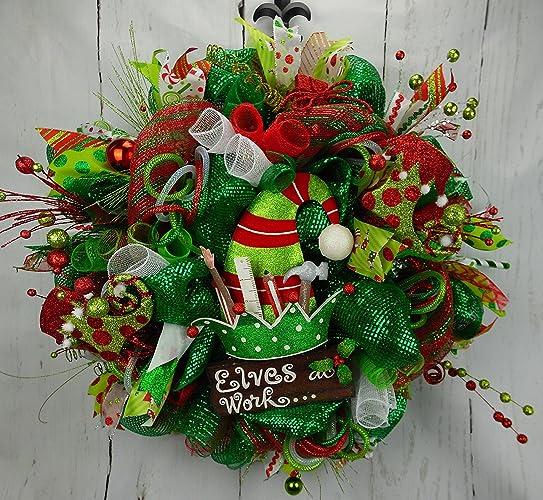elves at work christmas wreath elf wreath elf christmas wreath elf door decor