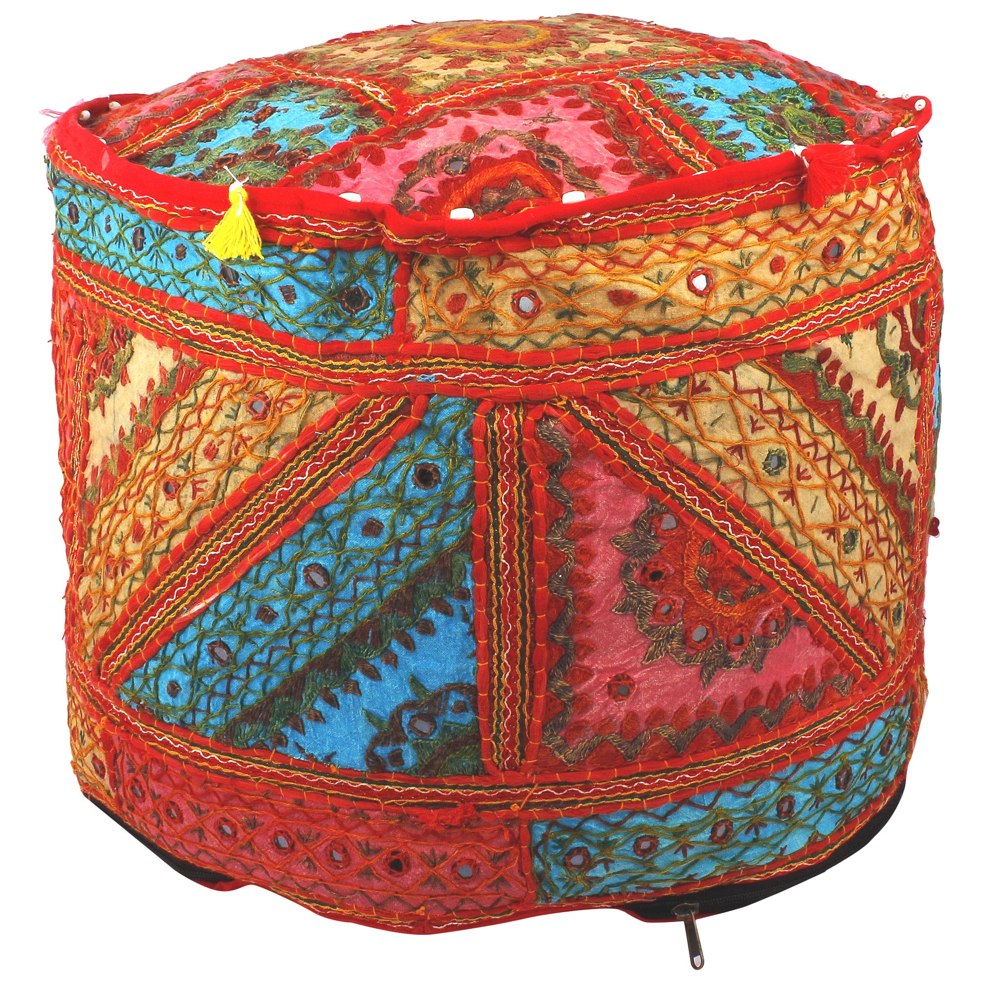 Maniona Crafts Indian Embroidered Patchwork Ottoman Cover,Traditional Indian Decorative Pouf Ottoman,Indian Vintage Patchwork Ottoman Pouf , Indian Comfortable Floor Cotton Cushion Ottoman Pouf,14x18''