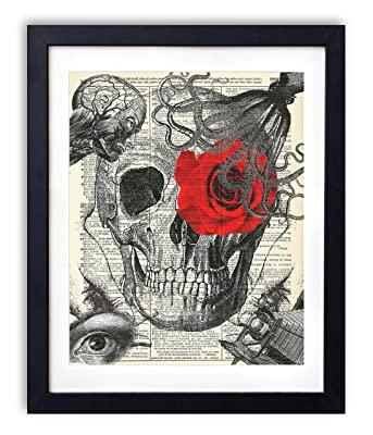 Skull Illustration Mashup With Red Rose Vintage Upcycled Dictionary Art Print - 8x10 inches
