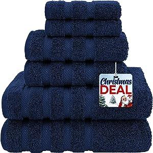 American Soft Linen Premium, Luxury Hotel & Spa Quality, 6 Piece Kitchen & Bathroom Turkish Genuine Cotton Towel Set, for Maximum Softness & Absorbency, [Worth $72.95] Navy Blue