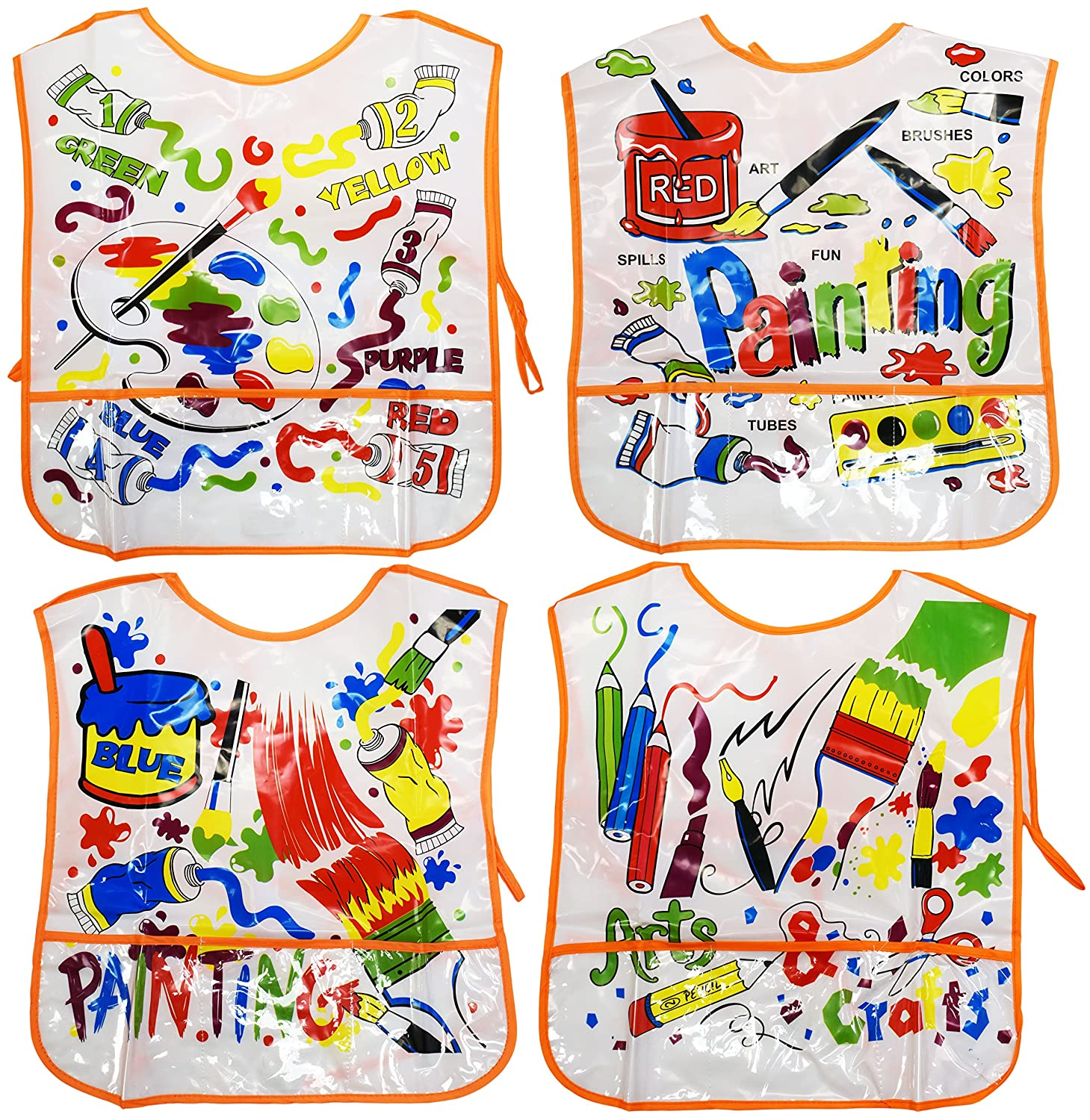 Set of 4 Kiddie Artist Smocks! 4 Assorted Bright and Beautiful Designs - 14x16 - Soft Vinyl - Pockets - Wipes Clean with Damp Cloth - Perfect for any Little Artist in Your Life! Black Duck Brand