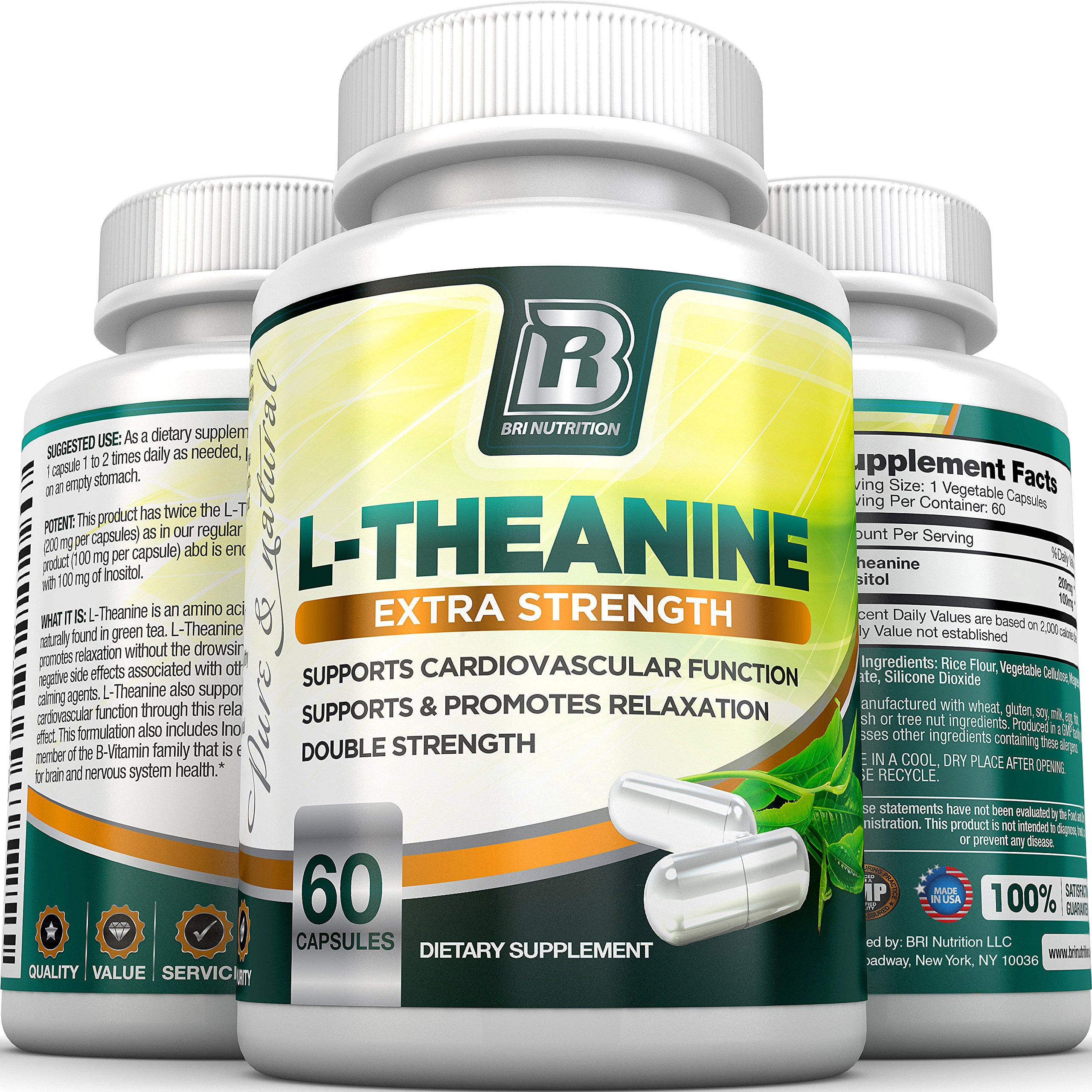 BRI Nutrition 200mg L-Theanine Enhanced with 100 mg of Inositol - 60 Count 200mg L Theanine Veggie Capsules by BRI Nutrition (Image #6)