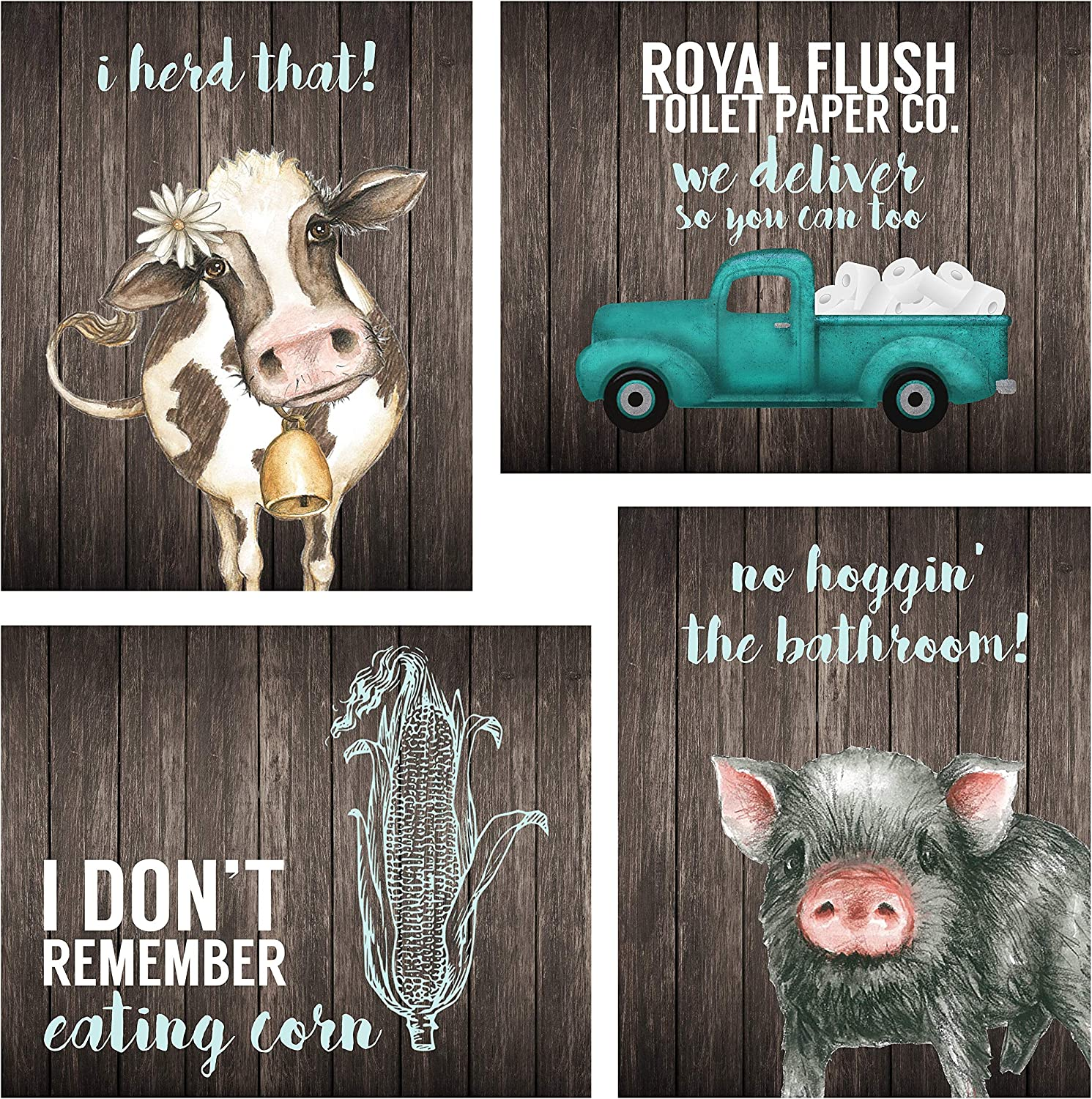 Silly Goose Gifts Bathroom Themed Decor Art Print Wall Art Funny Gift Sets Typography Rustic Unframed Pictures Signs Rules (Farm)