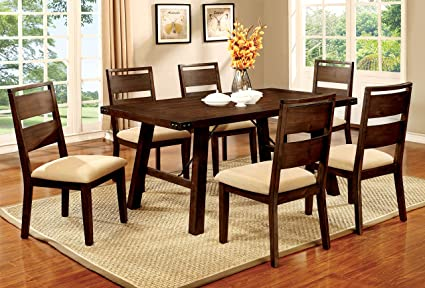 Amazon.com - Furniture of America Zaria 7-Piece Industrial Dining ...