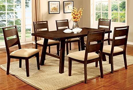 furniture of america zaria 7 piece industrial dining set - Dining Set Furniture