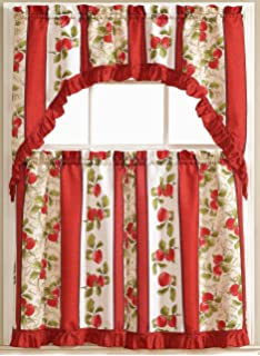 Taylor 3 Piece Printed Kitchen Curtain Set 2 Tiers 1 Swag Valance 36