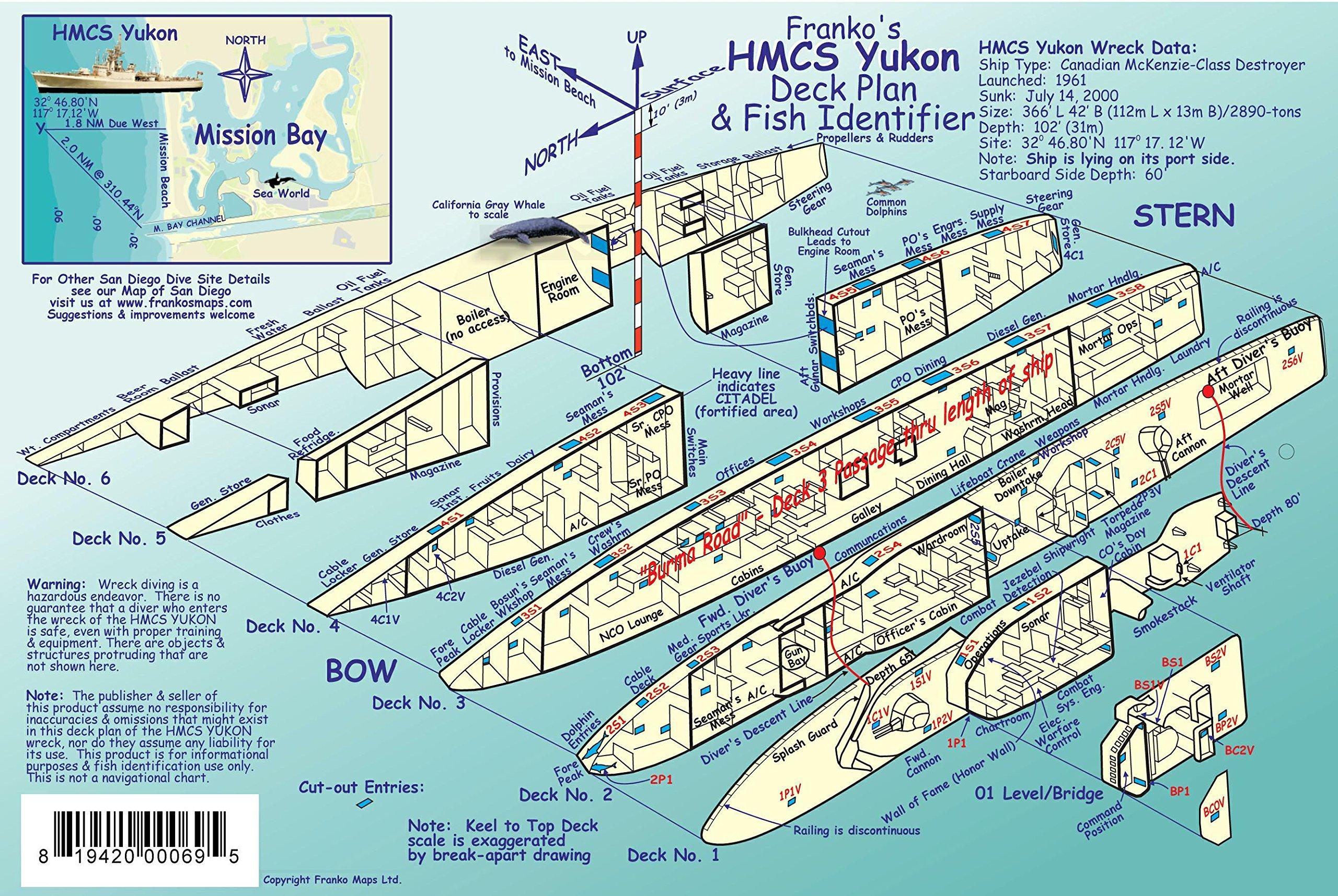 HMCS Yukon Wreck Deck Plan & San Diego Kelp Forest Creatures Guide