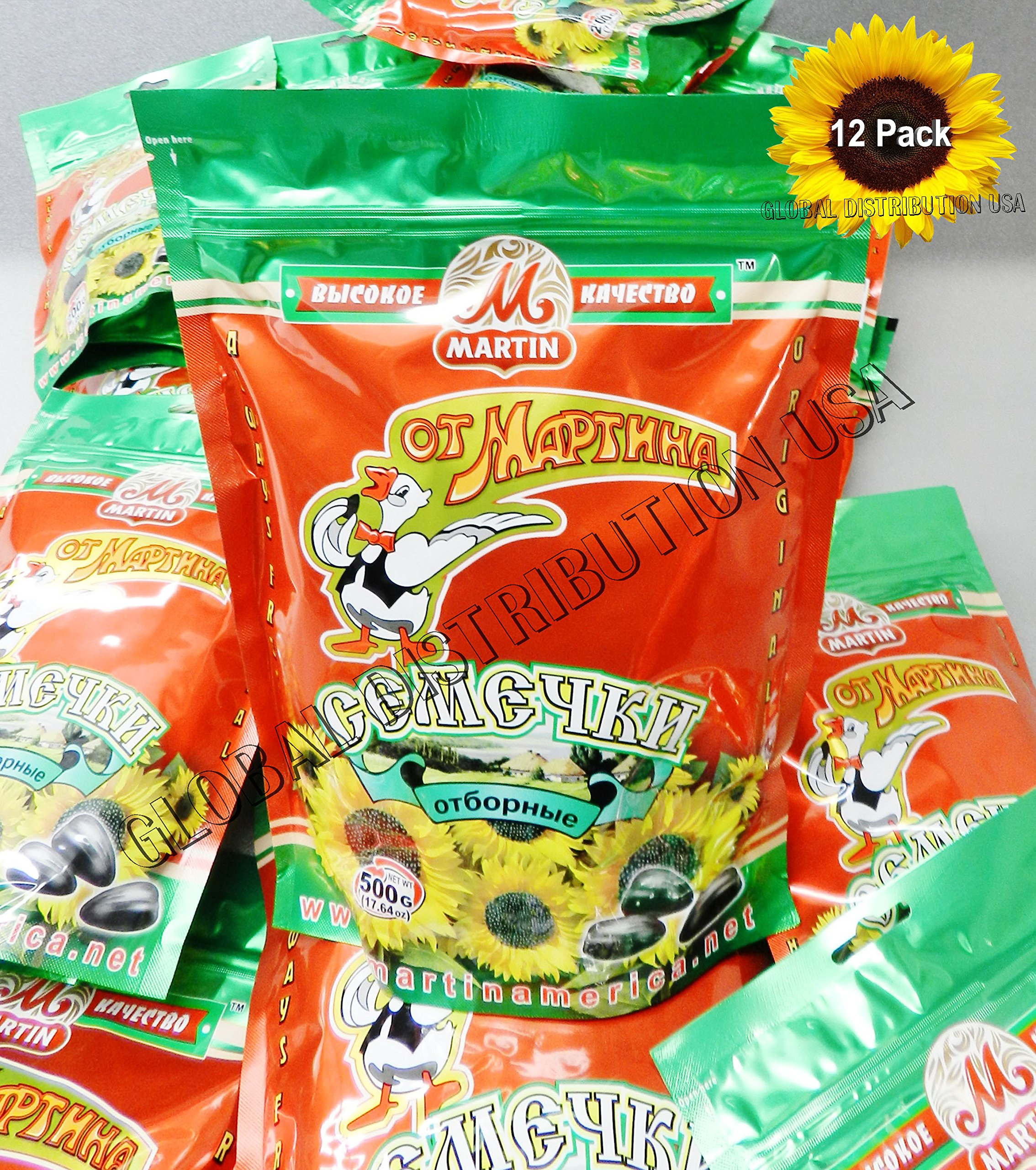 Premium Roasted Sunflower Seeds by Mr.Martin (Ot Martina) Unsalted Non-GMO 500G Pack of 12 by Mr.Martin