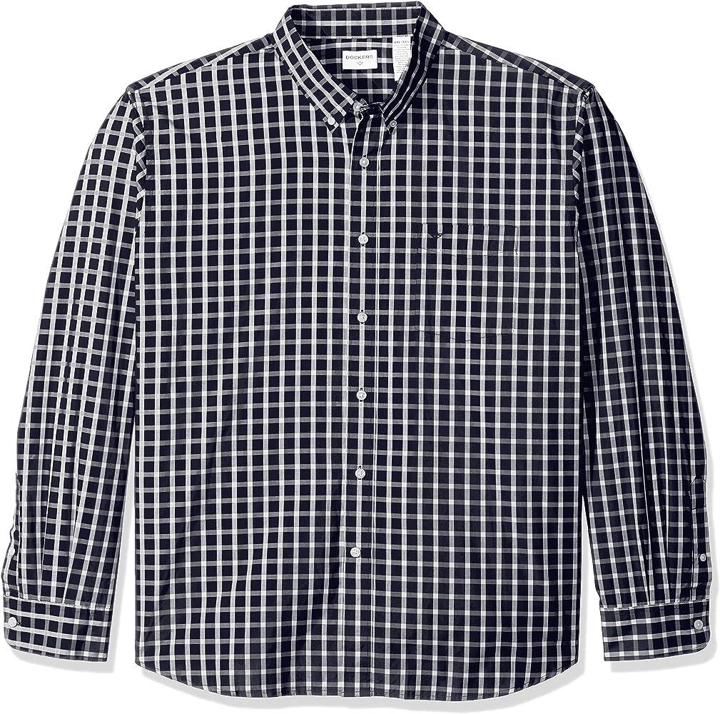 Dockers - Camisa de manga larga con botón frontal para hombre - Azul - Small: Amazon.es: Ropa y accesorios