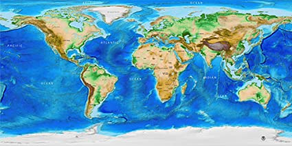 Amazon Com World Wall Map Decal Global Topography Bathymetry W
