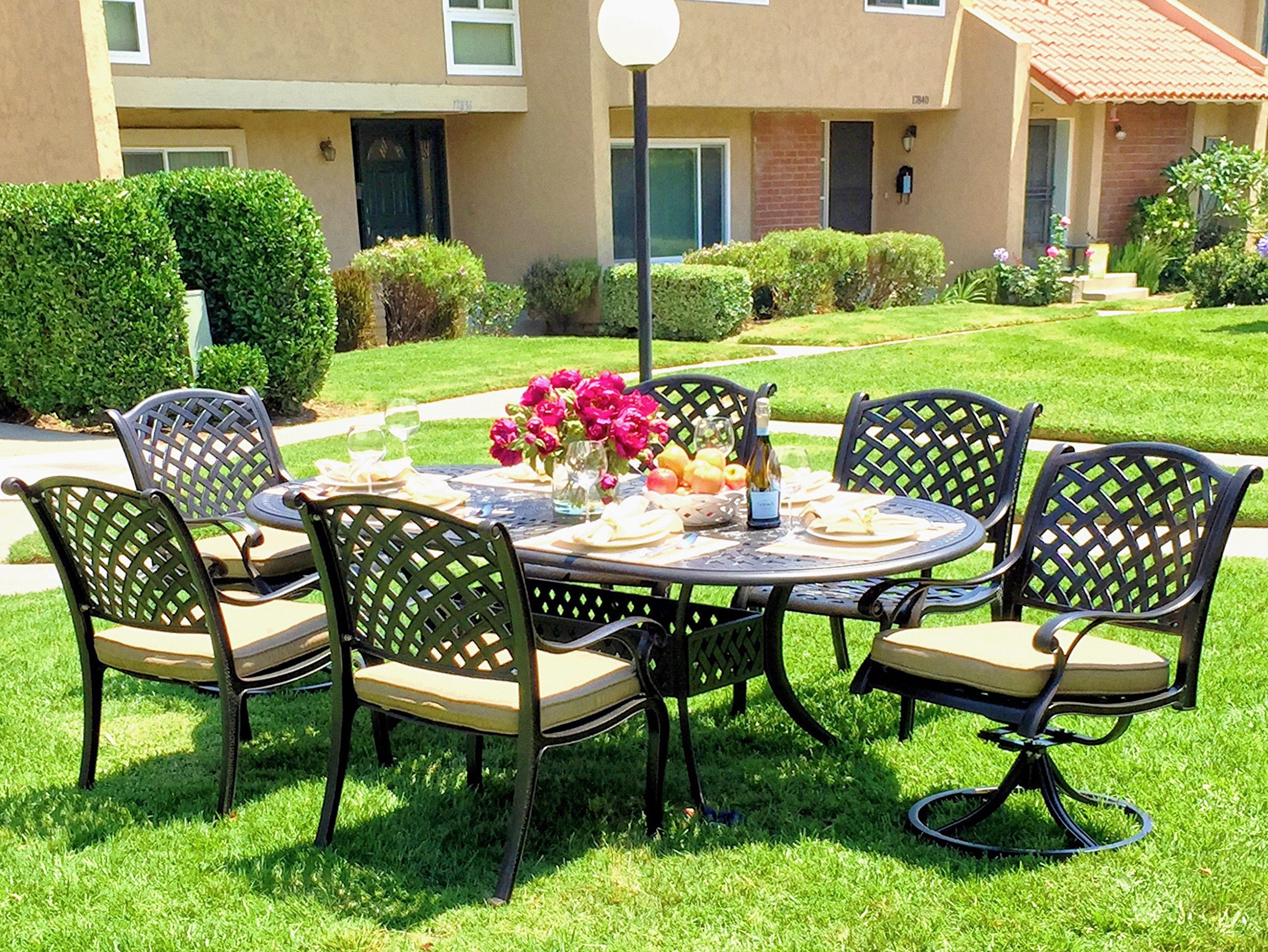 "Nevada 7-Piece Cast Aluminum Patio Dining Set, 6 Mixed Chairs - Crafted with solid cast aluminum construction / Features non-rust and weather resistant multi-step hand-finish in Antique Bronze Features adjustable levelers for non-flat surfaces / Includes 2"" center umbrella hole with cover (1) Dining table dimensions: 86L x 42W x 29H inch / Table weight: 77 lbs (Assembly required) - patio-furniture, dining-sets-patio-funiture, patio - A1gkMixo0fL -"
