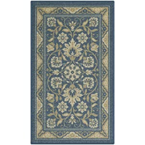 Maples Rugs Kitchen Rug - Florence 1'8 x 2'10 Non Skid Washable Throw Rugs [Made in USA] for Entryway and Bedroom, Blue