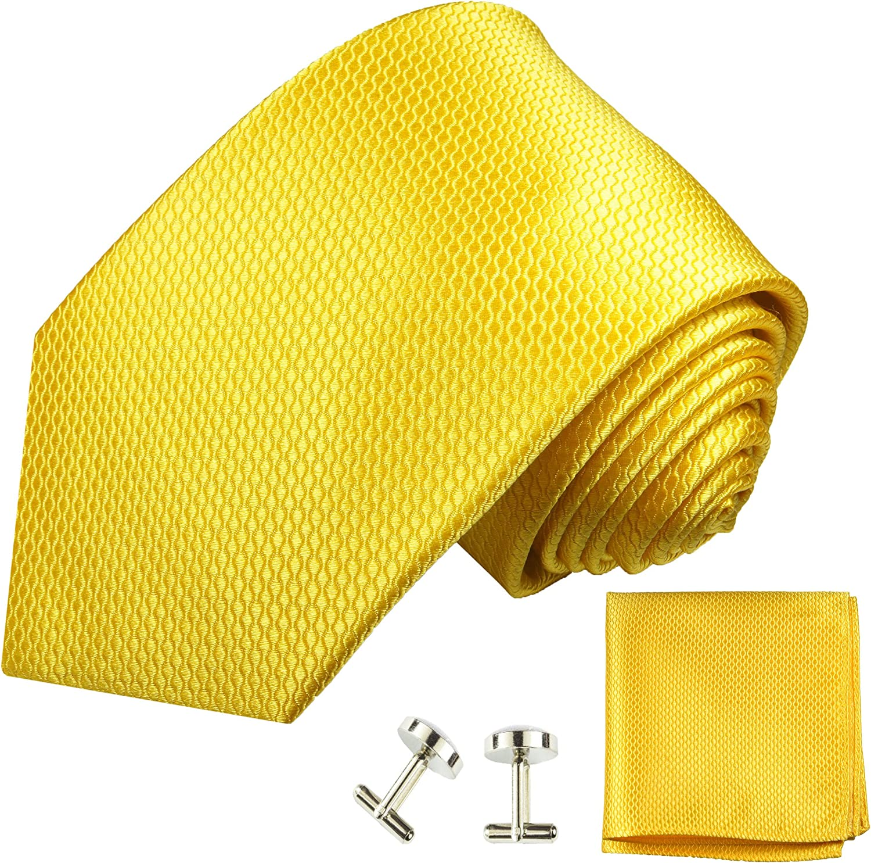 100/% Seide Paul Malone Krawatte gelb uni Set 3tlg Gelbe Krawatte mit Einstecktuch und Manschettenkn/öpfe