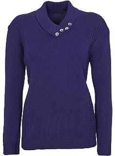 Jersey de punto de manga larga para mujer, cuello con botones, talla grande