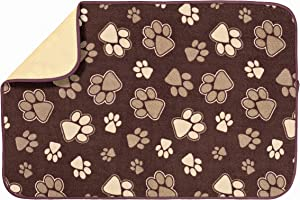 Kitchen Basics 593201 XL Microfiber Pet Bowl Mat, 14 Inch x 21.5 Inch, Brown Paws