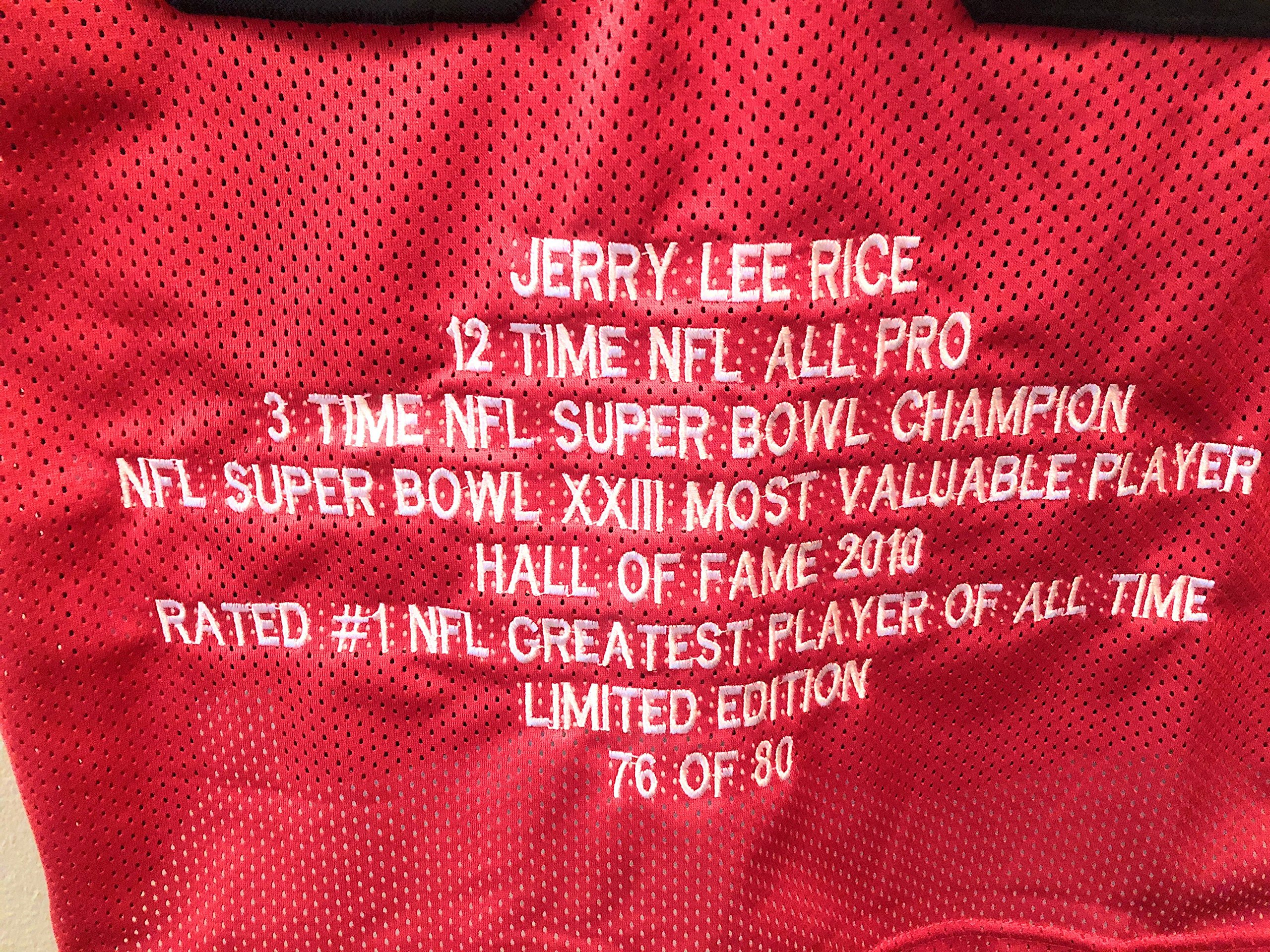 Jerry Rice San Fransico 49ers Signed Autograph Custom Shadow Jersey JSA Witnessed Certified