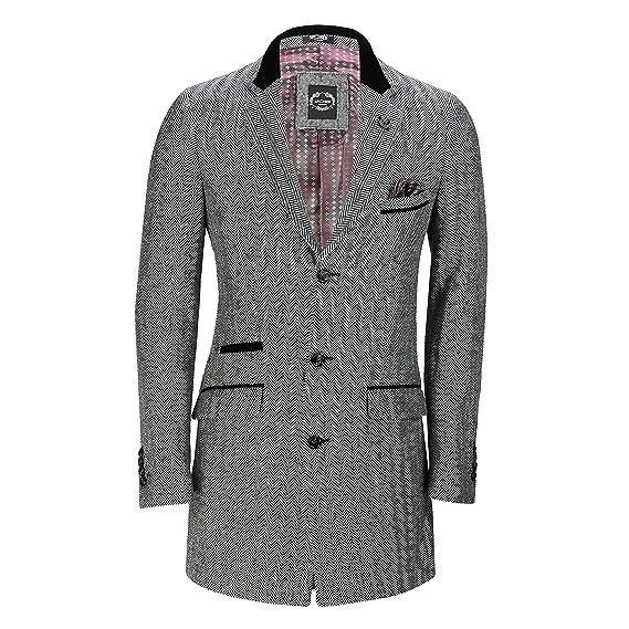 30460122bbc Mens 3/4 Long Overcoat Jacket Herringbone Tweed Check Retro Velvet Collar  Tailored Fit Coat
