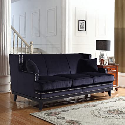 Beau Divano Roma Furniture Modern Soft Velvet Sofa With Nailhead Trim Detail  (Black)