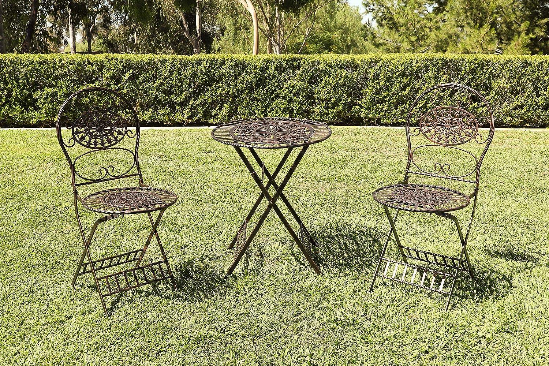 Alpine Corporation KIY212A-BR 3-Piece Floral Bistro Outdoor Conversation Set for Patio, Yard, Garden-Brown, 28-Inch Tall,