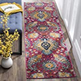 "Safavieh Madison Collection MAD600A Bohemian Chic Paisley Runner, 2' 3"" x 8', Fuchsia/Gold"