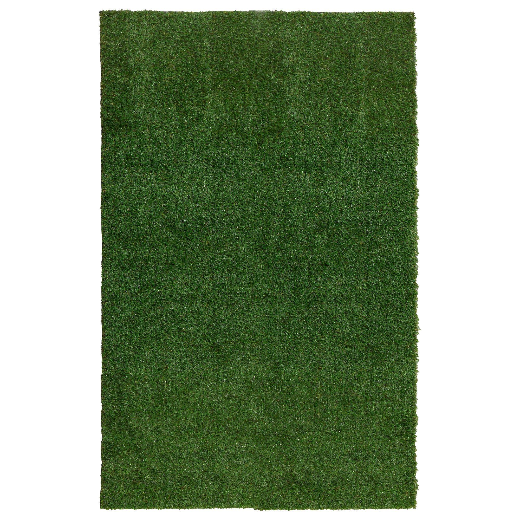 Ottomanson Garden Collection Indoor/Outdoor Artificial Solid Grass Design Area Rug X Green Turf, 6'6'' X 9'3''