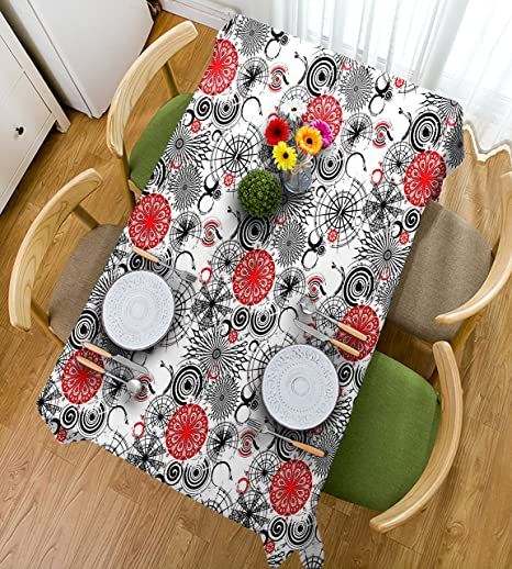 haixia tabllecloth red and black grunge street art ethnic mandala