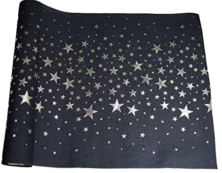 khevga Camino de Mesa Rollo algodón Estrellas Plata Gris 36 cm x 9 ...