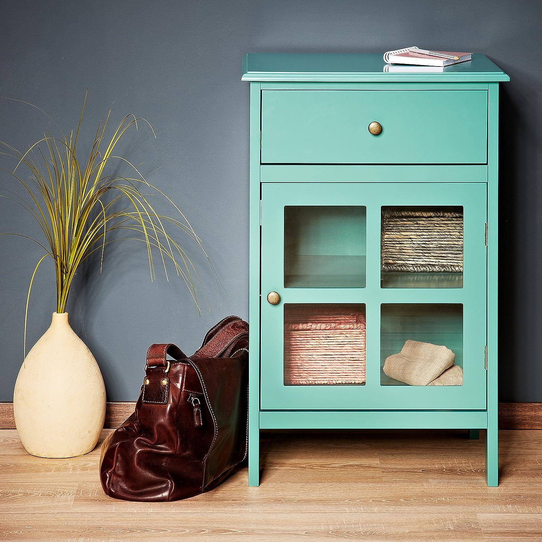VILADURA Cómoda, Armario auxiliar en verde turquesa en diseño exclusivo de estilo casa de campo: Amazon.es: Hogar