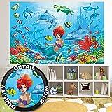 Sirena sott ' acqua FOTOMURALE – mondo sott ' acqua pesci delfini quadro da parete – XXL mondo del mare decorazione da parete – cameretta dei bambini bambina by GREAT ART (210 x 140 cm)