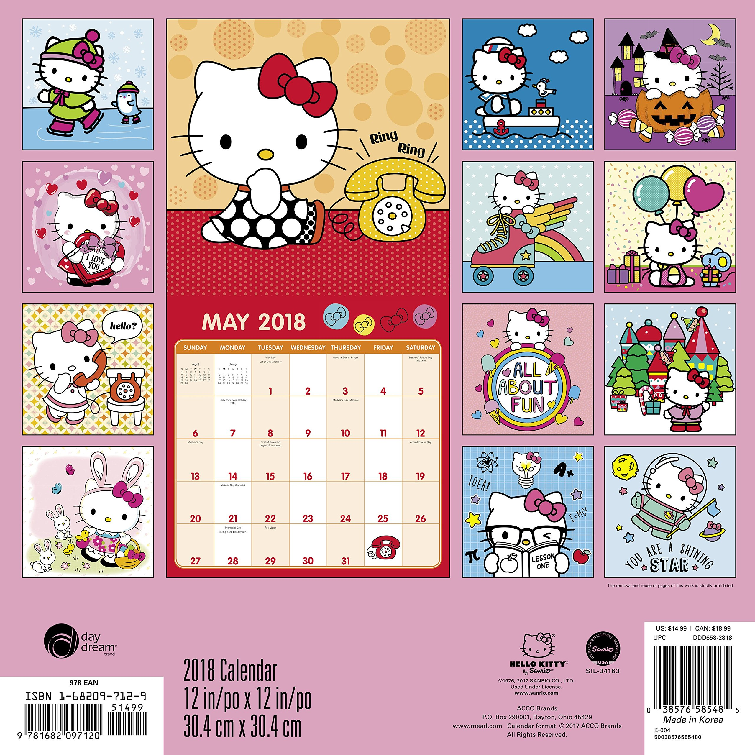 2018 Hello Kitty Wall Calendar Day Dream Day Dream 9781682097120