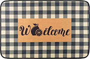 "GROBRO7 Summer Lemon Doormat Linen Checkered White and Black Carpet Rubber Non-Slip Reusable Entrance Rug Floor Door Mat Birthday Gift Decoration Supplies Home Decor Indoor Outdoor Mats 22.8"" x 14.9"""