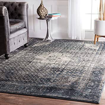 Traditional Vintage Inspired Overdyed Fancy Blue Area Rugs, 5 Feet 3 Inches  By 7 Feet
