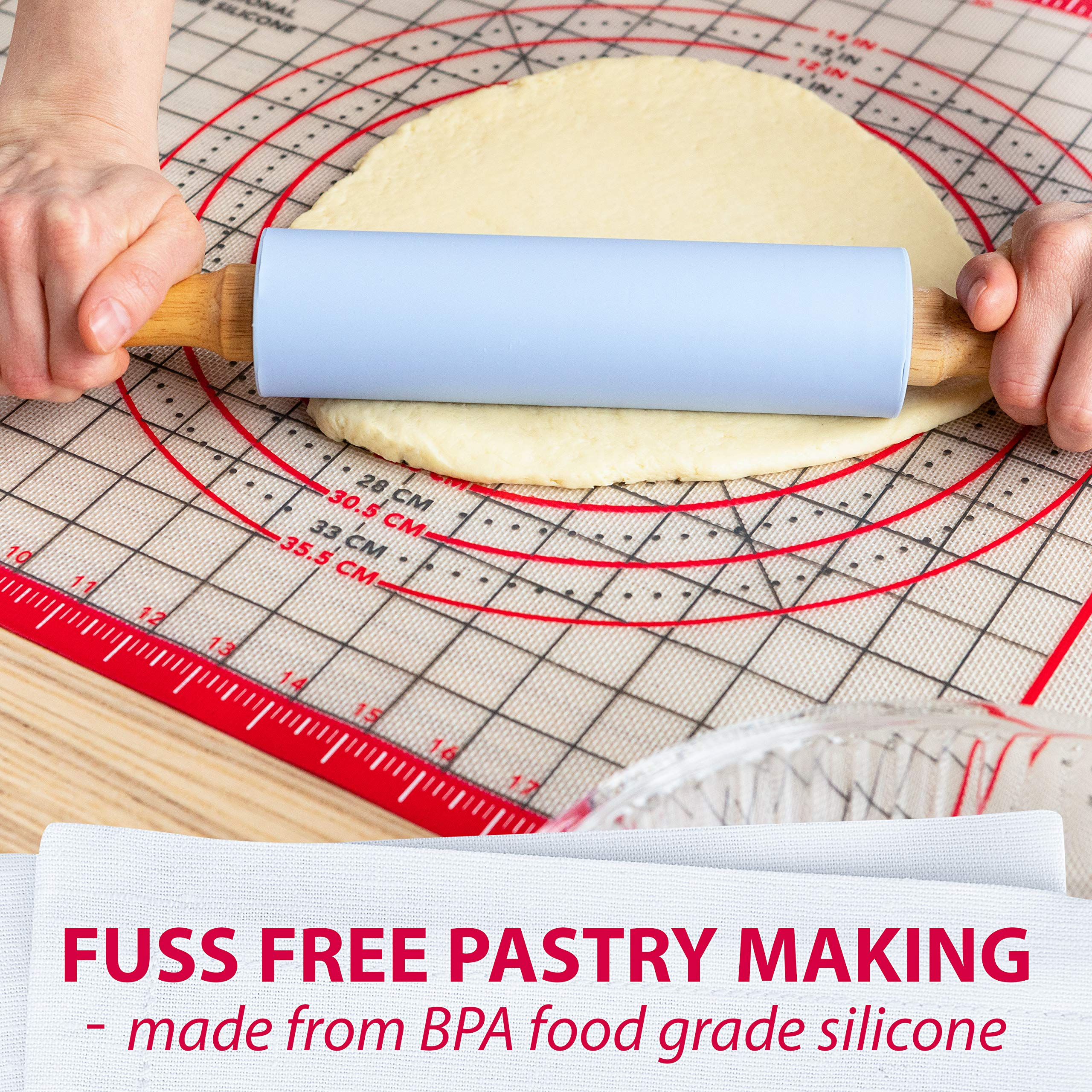 Pastry Mat Silicone Non Slip - Extra Large Thick Non Stick Silicone Baking Mat For Rolling Dough Pie Crust Fondant Pizza and Cookies - Heavy Duty Easy Clean Kneading Mat With Measurements - 20'' x 28'' by Kitzini (Image #7)